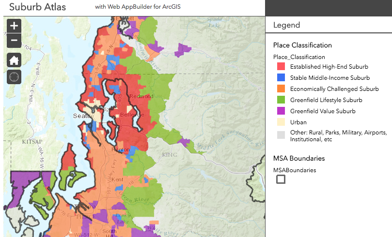 "Only a small portion of Seattle is considered ""urban"" in a new study by the Urban Land Institute. Image: ULI"